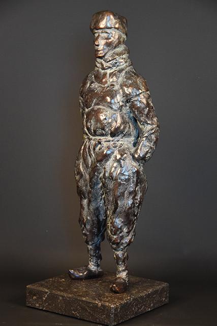 Urker Visser in brons - links